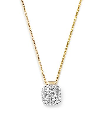 Frederic Sage - 18K White & Yellow Gold Firenze Diamond Small Cushion Pendant Necklace, 16""