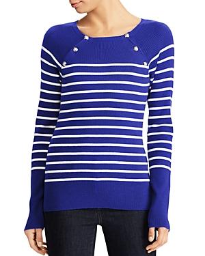 Lauren Ralph Lauren Raglan Button Stripe Sweater