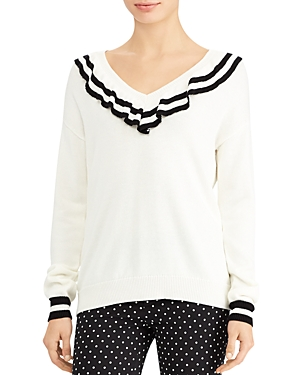 Lauren Ralph Lauren Ruffle V-Neck Stripe Trim Sweater