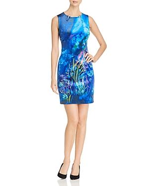 T Tahari Dakota Sleeveless Floral Print Velvet Sheath Dress