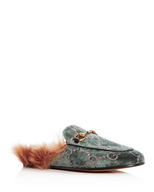 Gucci - Women's Princetown Logo Embossed Velvet & Lamb Fur Mules