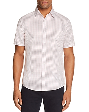Michael Kors Jace Print Slim Fit Short Sleeve Button-Down Shirt