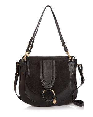 Hana Medium Textured-Leather And Suede Shoulder Bag, Black/Gold
