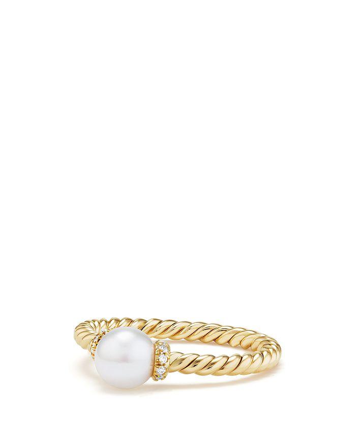 David Yurman - Solari Station Ring with Cultured Freshwater Pearl & Diamonds in 18K Gold
