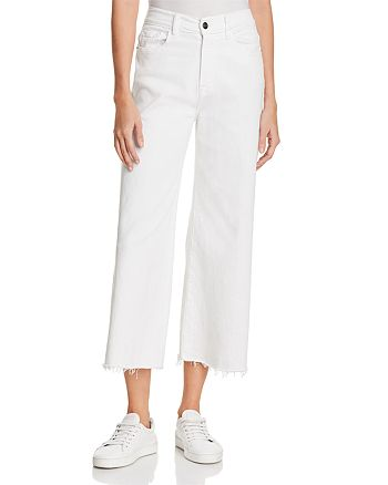 FRAME - Le Palazzo Raw-Edge Cropped Jeans in Blanc - 100% Exclusive