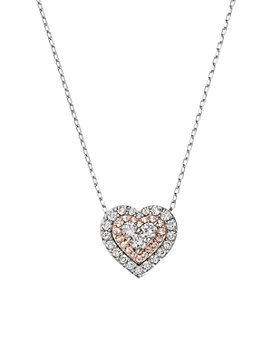 Bloomingdale's - Diamond Heart Pendant Necklace in 14K Rose & White Gold, 0.50 ct. t.w. - 100% Exclusive