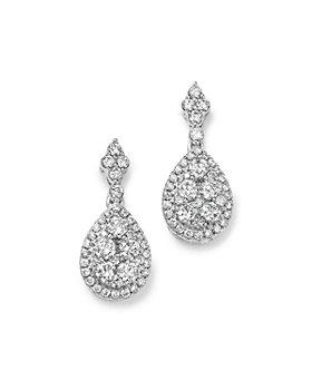 Bloomingdale's - Diamond Cluster Teardrop Earrings in 14K White Gold, 1.0 ct. t.w. - 100% Exclusive