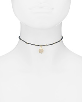 "AQUA - Sterling Silver Starburst Choker Necklace, 14"""