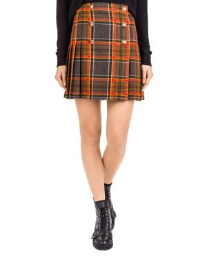 The Kooples Earth Pleated Plaid Button-Up Skirt