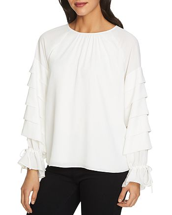 1.STATE - Tiered Long Sleeve Blouse