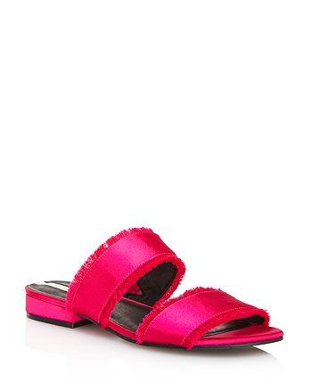 Kenneth Cole - Women's Viola Satin Fringe Slide Sandals - 100% Exclusive