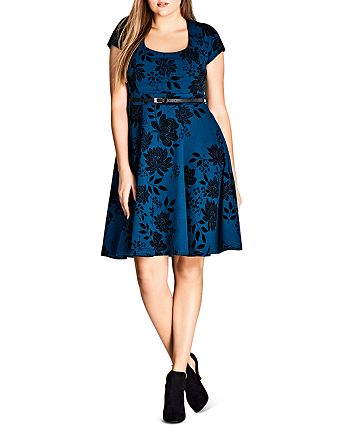 City Chic Plus - Floral Print Belted Dress