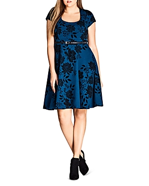 City Chic Floral Print Belted Dress