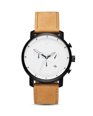 Chronograph Leather Strap Watch, 45Mm in White/ Tan