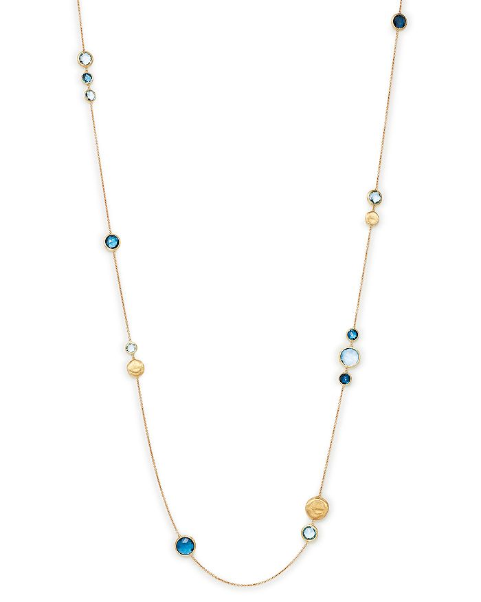 """Marco Bicego - 18K Yellow Gold Jaipur Mixed Blue Topaz Long Necklace, 34"""""""
