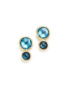 Marco Bicego - 18K Yellow Gold Jaipur Mixed Blue Topaz Climber Stud Earrings