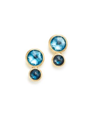 18K Yellow Gold Jaipur Mixed Blue Topaz Climber Stud Earrings - 100% Exclusive, Blue/Gold