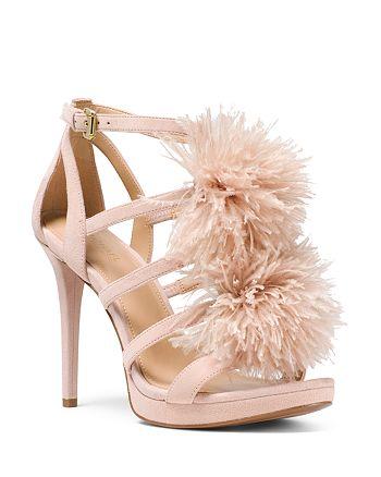 e9c3e220945 MICHAEL Michael Kors Women s Fara Feather Pom-Pom Suede Sandals ...