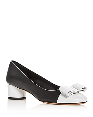 Salvatore Ferragamo Women's Leather Cap Toe Pumps
