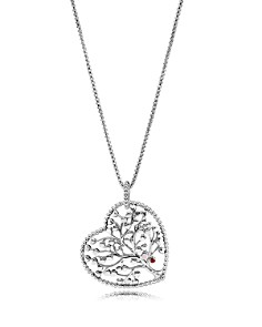 "PANDORA Sterling Silver & Cubic Zirconia Tree of Love Heart Pendant Necklace, 30"" - Bloomingdale's_0"