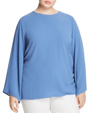 VINCE CAMUTO PLUS Bell-Sleeve Side-Tie Blouse, Plus Size in Blue