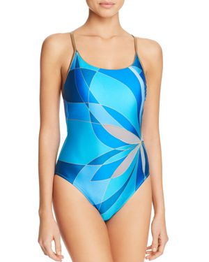 Gottex Abstract Floral Print One Piece Swimsuit