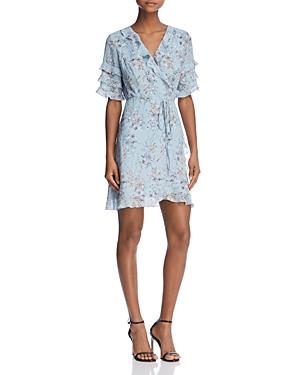 Aqua Ruffled Floral Print Wrap Dress - 100% Exclusive