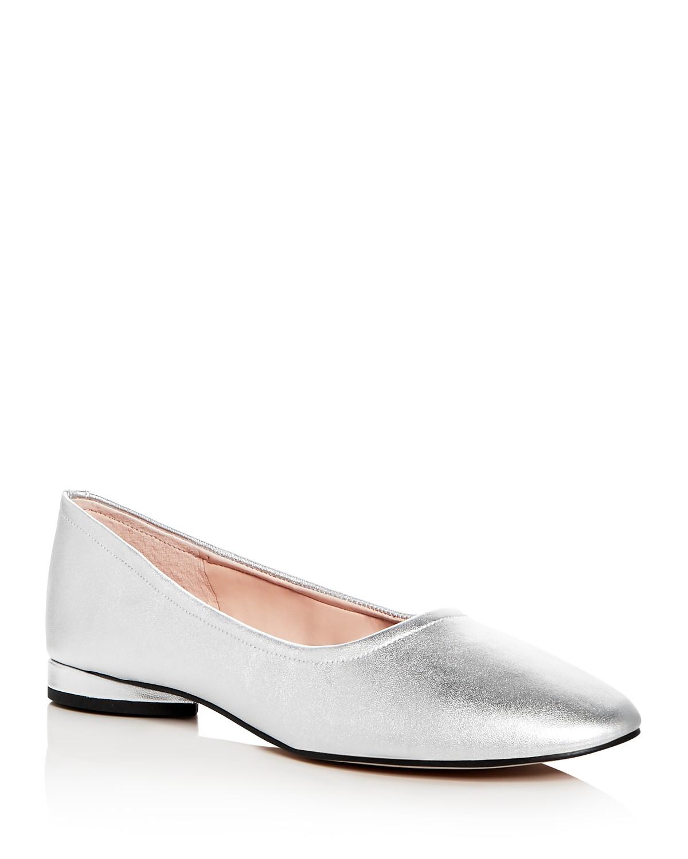 AVEC LES FILLES Women's Myrina Leather Round Toe Ballet Flats yb4KN