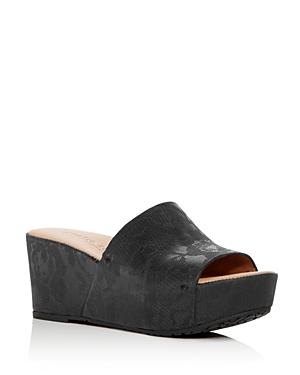 Gentle Souls Women's Forella Floral Embossed Suede Platform Slide Sandals