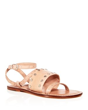 WOMEN'S STUDDED LEATHER ANKLE STRAP SANDALS