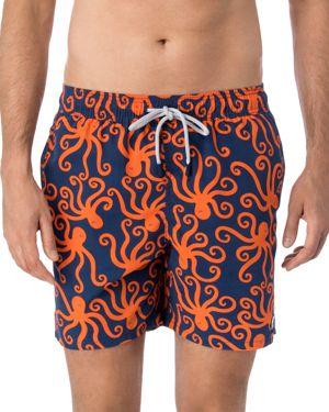 TOM & TEDDY 'Octopus Pattern' Swim Trunks in Blue/ Orange