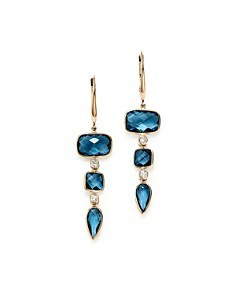 Olivia B - 14K Yellow Gold Tiered London Blue Topaz & Diamond Drop Earrings - 100% Exclusive