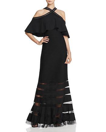 Tadashi Shoji - Cold-Shoulder Pintuck Gown