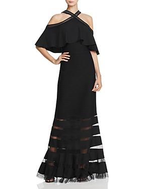 Tadashi Shoji Cold-Shoulder Pintuck Gown