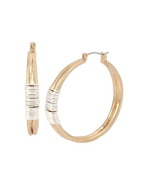 Robert Lee Morris Soho - Two-Tone Wire Wrap Hoop Earrings