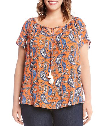 Karen Kane Plus - Short Sleeve Paisley Peasant Top