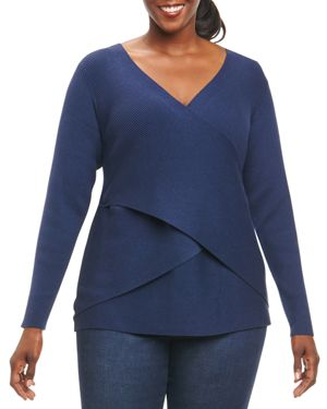 Foxcroft Plus Crossover Sweater