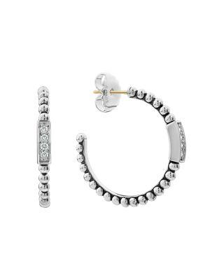 Lagos 22mm Caviar Spark Diamond Huggie Hoop Earrings tnd5R6I