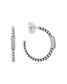 LAGOS - Sterling Silver Caviar Spark Diamond Hoop Earrings