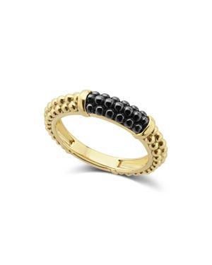 Lagos Gold & Black Caviar Collection 18K Gold & Ceramic Ring