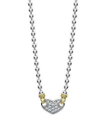 "LAGOS - 18K Gold & Sterling Silver Beloved Pavé Diamond Heart Pendant Necklace, 16"""