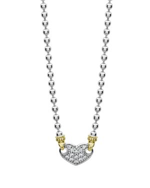Lagos 18K Gold & Sterling Silver Beloved Pave Diamond Heart Pendant Necklace, 16