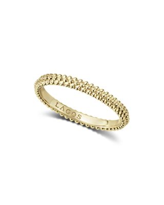 Caviar Gold Collection 18K Gold Triple Beaded Stacking Ring
