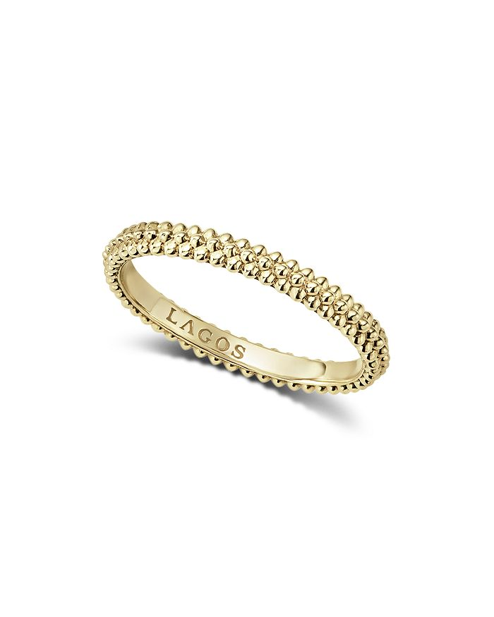 LAGOS - Caviar Gold Collection 18K Gold Triple Beaded Stacking Ring