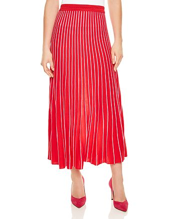 Sandro - Shryl Pleated Striped Midi Skirt
