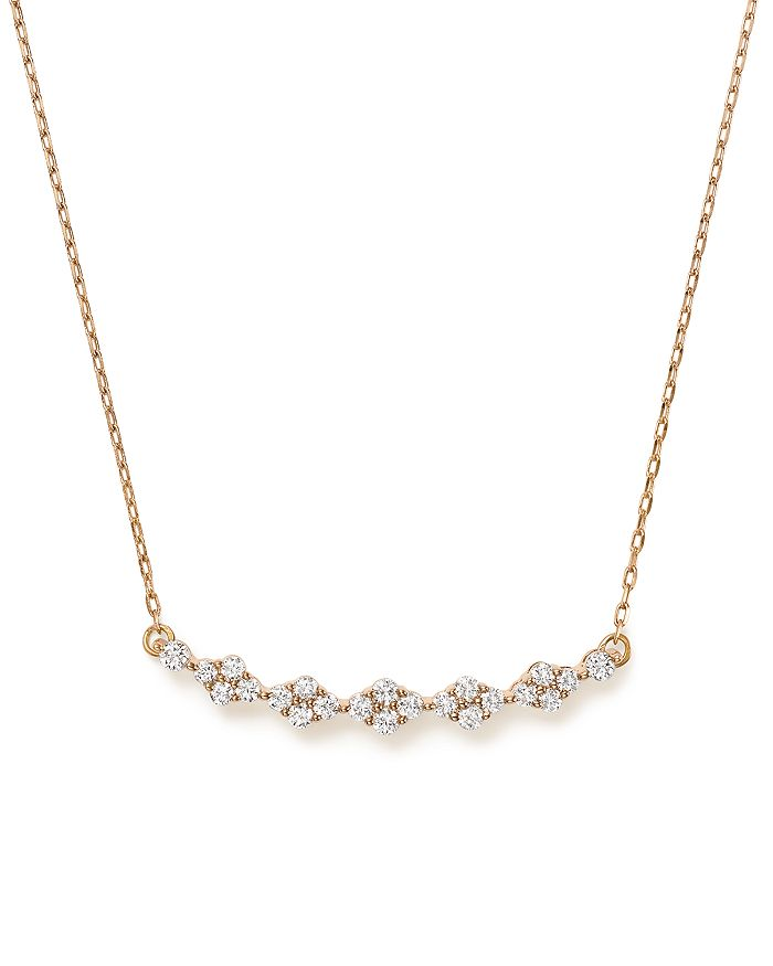 Bloomingdale's - Diamond Cluster Bar Necklace in 14K Rose Gold, 0.40 ct. t.w. - 100% Exclusive