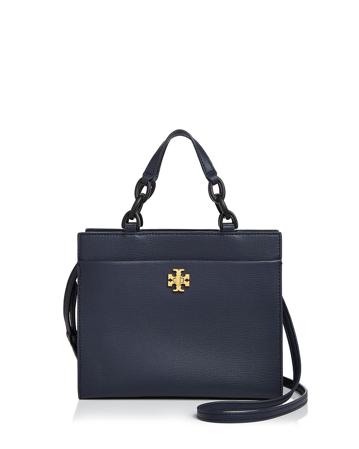 Tory Burch Kira royal navy leather small tote