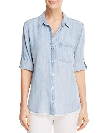 0789cc6af51 Side Stitch Frayed Chambray Shirt | Bloomingdale's