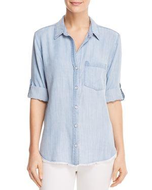 Side Stitch Frayed Chambray Shirt
