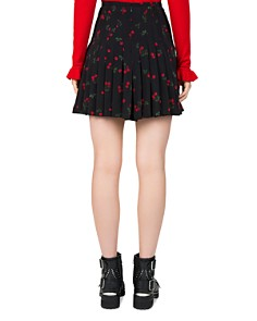The Kooples - Cherry Love-Print Pleated Silk Skirt